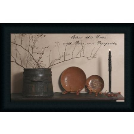Bless This Home with Peace and Prosperity Billy Jacob Primitive Country Framed Art Print Wall Decor