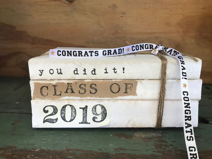 Class of 2019 Book Stack / Stamped Books / Graduation Party Decor / Stacked Books / Graduation Decor / Graduation Gift