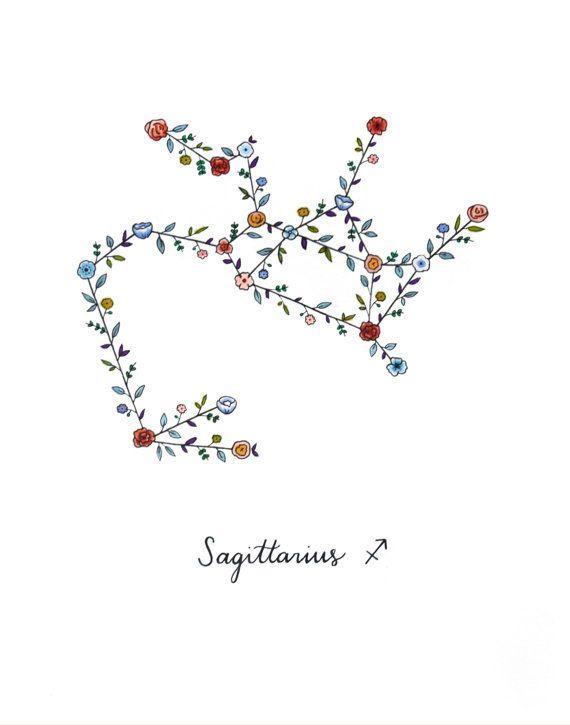 Zodiaque Sagittaire Constellation Floral Print Sagittaire
