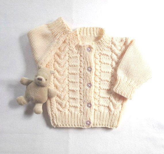 Infant knit cardigan  6 to 12 months  Baby shower by LurayKnitwear