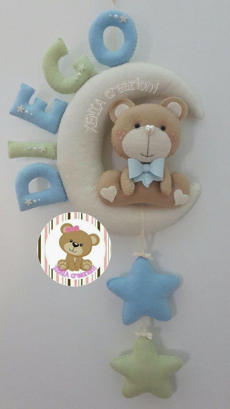 Fiocco nascita luna e orsetta con nome personalizzabile per femminuccia o maschietto