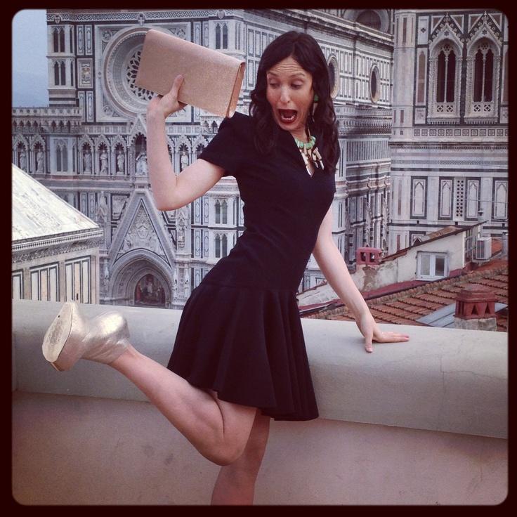 Alexander McQueen dress, Guiseppe Zanotti heels (without heel - btw)