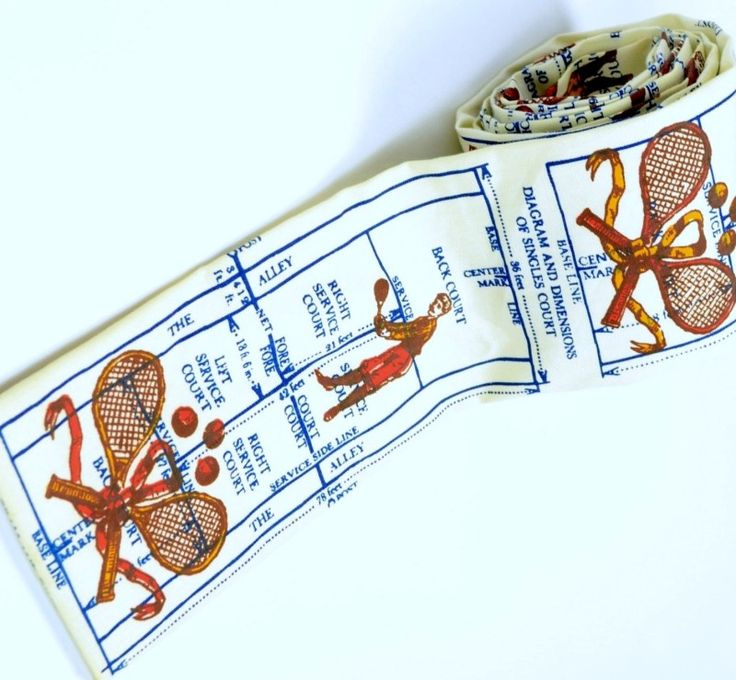 Rooster Necktie, WPL1Tennis Diagram and Dimensions of Single Court, Square Ends, Cotton Skinny Tie