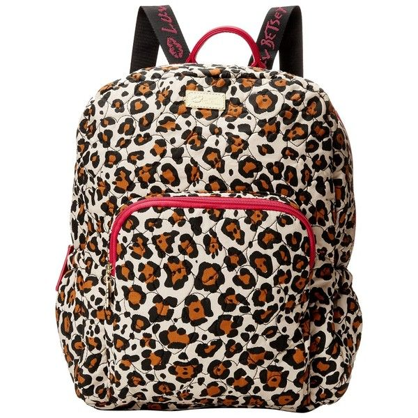 Luv Betsey Grand Backpack (Leopard) Backpack Bags ($48) ❤ liked on Polyvore featuring bags, backpacks, animal print, animal backpack, cotton backpack, pink leopard print backpack, betsey johnson and strap backpack