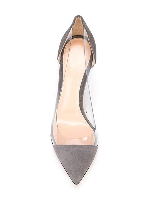 ea6a62c1a0 AmazonSmile   Sammitop Women's 100mm Pointed Toe Transparent High Heels  Pumps Party Wedding Dress Shoes   Pumps