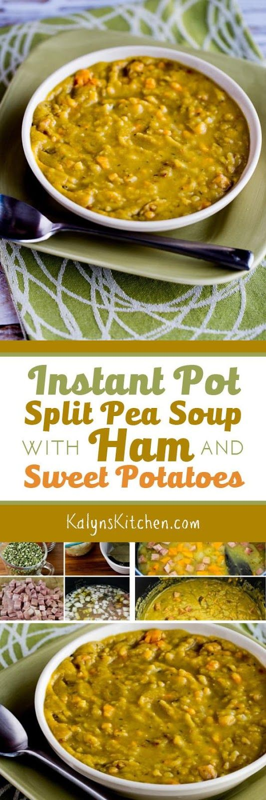 Use the Instant Pot, another electric pressure cooker, or a stove-top pressure cooker to make this delicious Split Pea Soup with Ham and Sweet Potatoes. The recipe also has suggestions if you prefer to make this a lower-carb version of split pea soup. [found on KalynsKitchen.com]