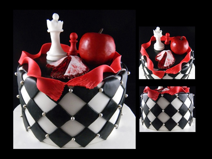 ROUND TWILIGHT SAGA THEMED CAKE WITH CHESS BOARD PATTERN