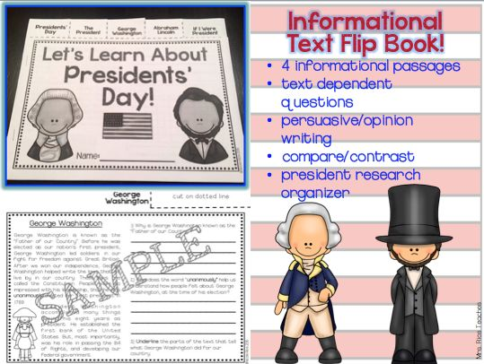 Fun and engaging Presidents' Day activities! Informational Text Flip Book for grades 2 & 3. Includes writing prompts. $