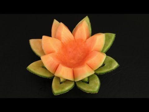 Cantaloupe : Rockmelon Flower - Beginner's Lesson 15 by Mutita Art of Fruit & Vegetable Carving