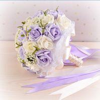 2015 belo roxo casamento buquê de noiva flor de dama de honra buquê de casamento flor Artificial Rose Bouquet