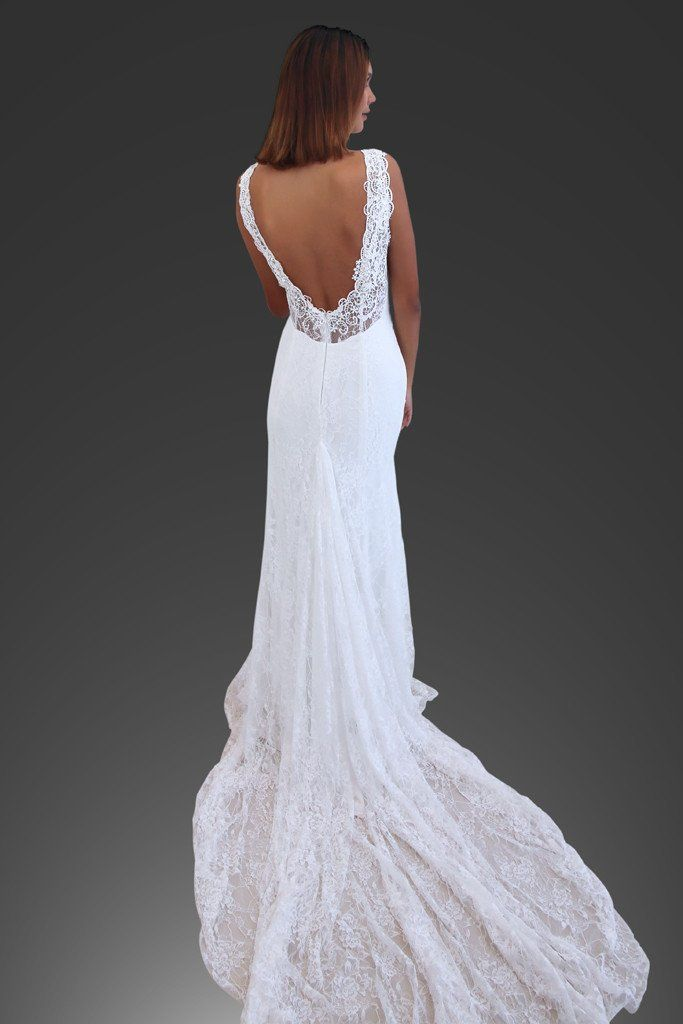 Calla low back full lace boho soft lace wedding dresses - The GC Bridal Lounge | The GC Bridal Lounge