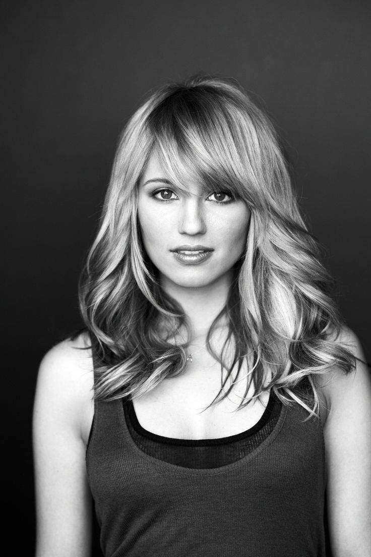 Dianna Agron - Shoulder Length Hairstyle with Bangs