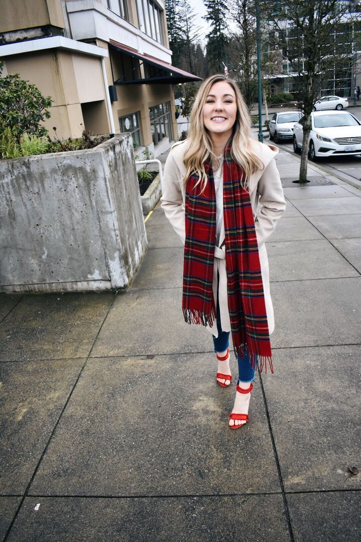 Check out my Favorite Winter Outfit: A Plaid Scarf, and A Wrap Trench Coat!