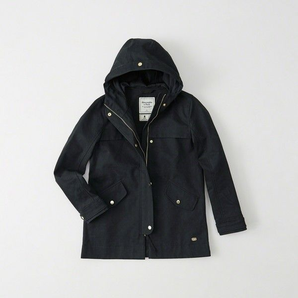 Abercrombie & Fitch Classic Raincoat ($160) ❤ liked on Polyvore featuring outerwear, coats, black, waterproof coat, waterproof raincoat, rain coat, hooded coat and hooded raincoat