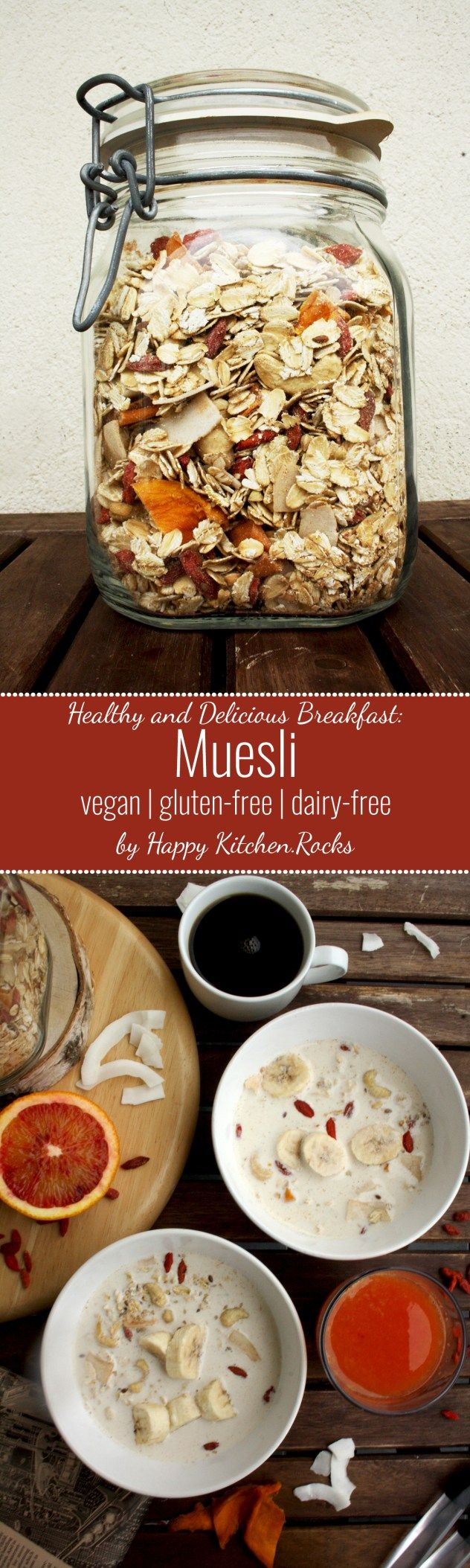 Muesli Recipe: Delicious, wholesome, nutritious and quick breakfast based on grains, nuts, seeds and fruits. Spend 10 minutes to make a big jar and use it whenever you need! The recipe is adjustable t