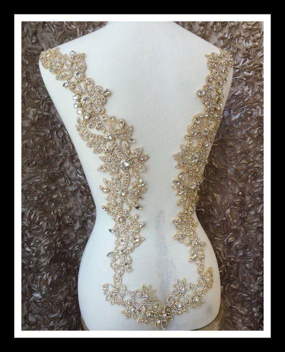 Designer Rhinestone bridal applique Open back wedding dress