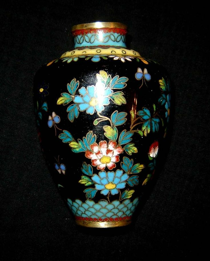 Antique Japanese Cloisonne Ginbari Miniature Vase - Meiji period 1868-1912