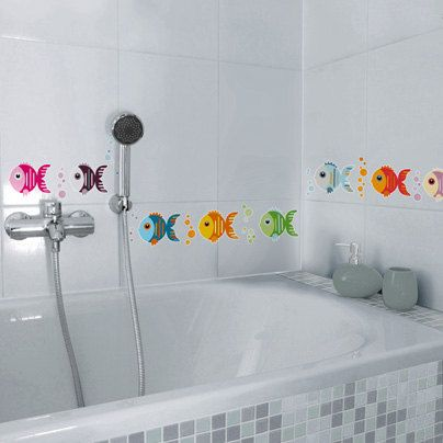 Non-skid little fish vinyl for shower.Kids deco stickers for bath.Non-skid decal for bathtub, shower.Non Slip Bath Tub fun shapes for kids
