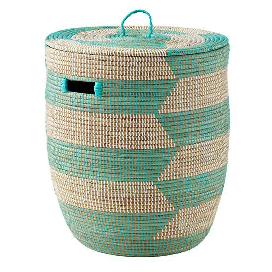 The Land of Nod   Charming Hamper (Herringbone/Aqua) in Floor Storage. ABSOLUTE NECESSITY: A laundry hamper SUPER CLOSE to your changing table. $89