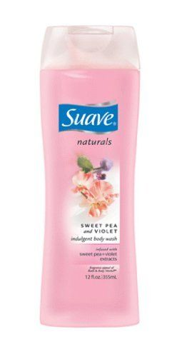 Suave Body Wash Naturals, Sweet Pea + Violet, 12-Ounce (Pack of 6) by Suave. $11.70. Enchantingly refreshing bouquet of sweet pea and violet. Infused with sweet pea and violet extracts along with skin conditioning vitamin e. Cleanses and moisturizes as well as more expensive brands. Suave naturals sweet pea and violet indulgent body wash infused with sweet pea and violet extracts along with skin conditioning vitamin e.