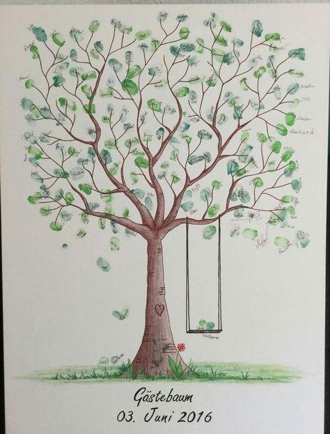 Wedding Tree Thumbprint Tree Huwelijkscadeau Doop Canvas 50x70cm / 60x80cm  – Geschenke