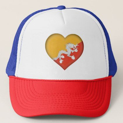 #Bhutan Flag Trucker Hat - #country gifts style diy gift ideas
