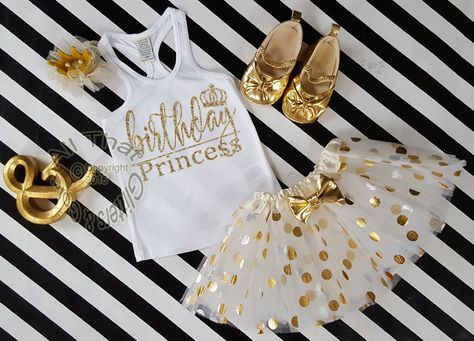 3 pc White and Gold Birthday Princess Polka Dot Birthday Tutu Outfit Age 1-6