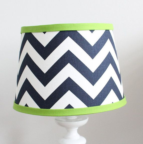 New modern design! Custom lamp shades available to match your Baby Milan bedding or any decor. -8 top 10 bottom 7 tall -Drum style with Uno fitter -Navy chevron with accent lime green  Dont see your color? Select custom and add your custom color during checkout with explanation of fabric choices.