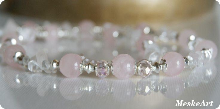 Rózsakvarc - hegyikristály nyaklánc / Ruzenin - Krisál nahrdelnik / Rosequartz - quartz necklace