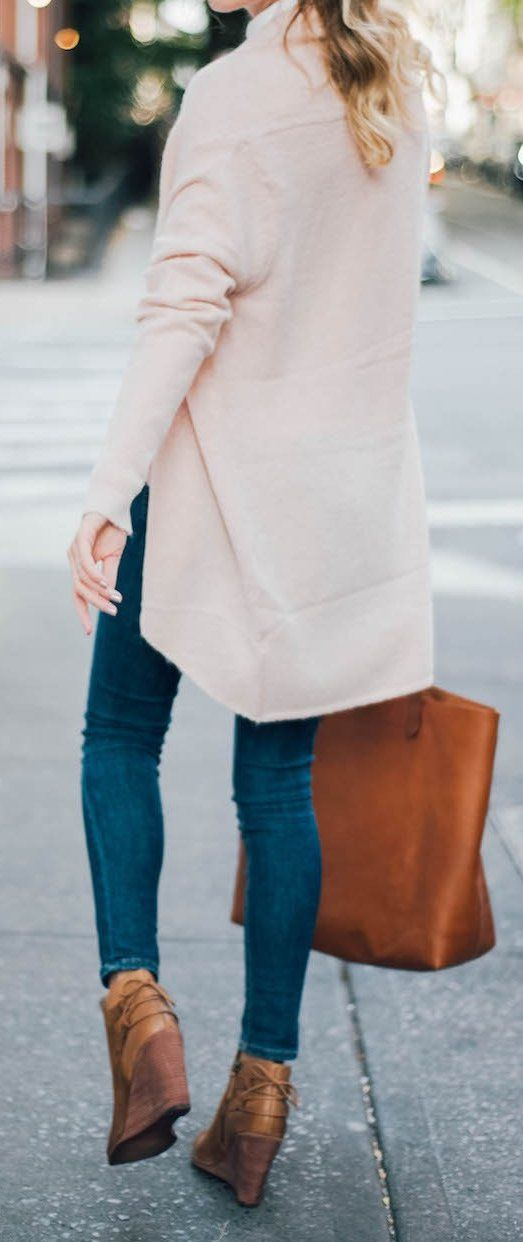 #fall #outfits · Pink Cardigan // Skinny Jeans // Wedge Booties
