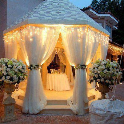 out door gazebo add lights flowers etc for that special affect...