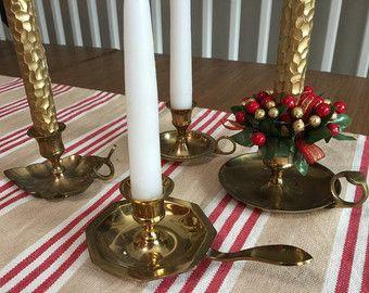 Grande PATINA Set (5) Brass cameriera candelieri Vintage Taper Candela dito titolari tradizionale casale rustico non corrispondenti illuminazione