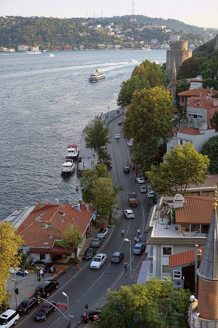 Amazing Istanbul view from a hill.  Waters are the Bosphorus Strait which divides Istanbul into two parts. Luxury houses along the Bosphorus are multi-million dollar mansions with windows overlooking the great Istanbul.