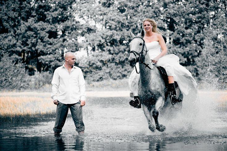 #bride #groom #horse #water #trashthedress #photoshoot #dutchwedding #havelte #september #2010  Photo by Sjoerd Banga, © Banganimation