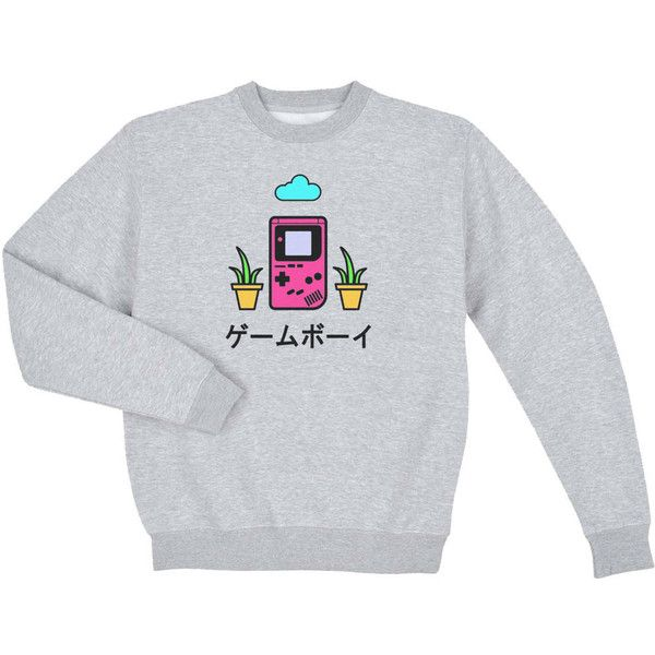 Gameboy Sweatshirt/ Japanese clothing/ 90s Grunge Pastel Goth Seapunk/... (485 ZAR) ❤ liked on Polyvore featuring tops, hoodies, sweatshirts, gothic hoodie, pastel hoodie, goth hoodie, long hoodie and long hooded sweatshirt