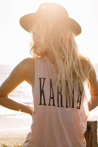 Create good karma in our Karma Coachella tank. Made using a specialty wash and our ultra soft burnout jersey, this tank features the same deep side openings and
