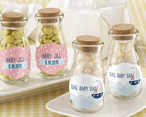 Personalized Milk Jar - Nautical Baby Shower - Personalized Favors by Kate Aspen