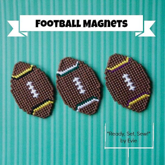 """Plastic Canvas: Football Fever -- Football Magnets (set of 3), """"Ready, Set, Sew!"""" by Evie (on Etsy)"""