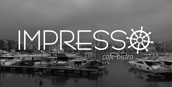 Logo design by Egg Visual Communication for Impresso cafe - bistro which is located in Pasalimani, Piraeus, Greece. www.egg.com.gr