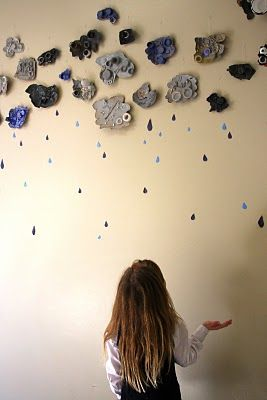 Cardboard clouds with found objects glued to them then painted over with silver/grey/blue black--practice color mixing to get new tints?