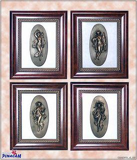 Cuadros con medallones de escayola pintados imitaci n - Cuadros de escayola ...