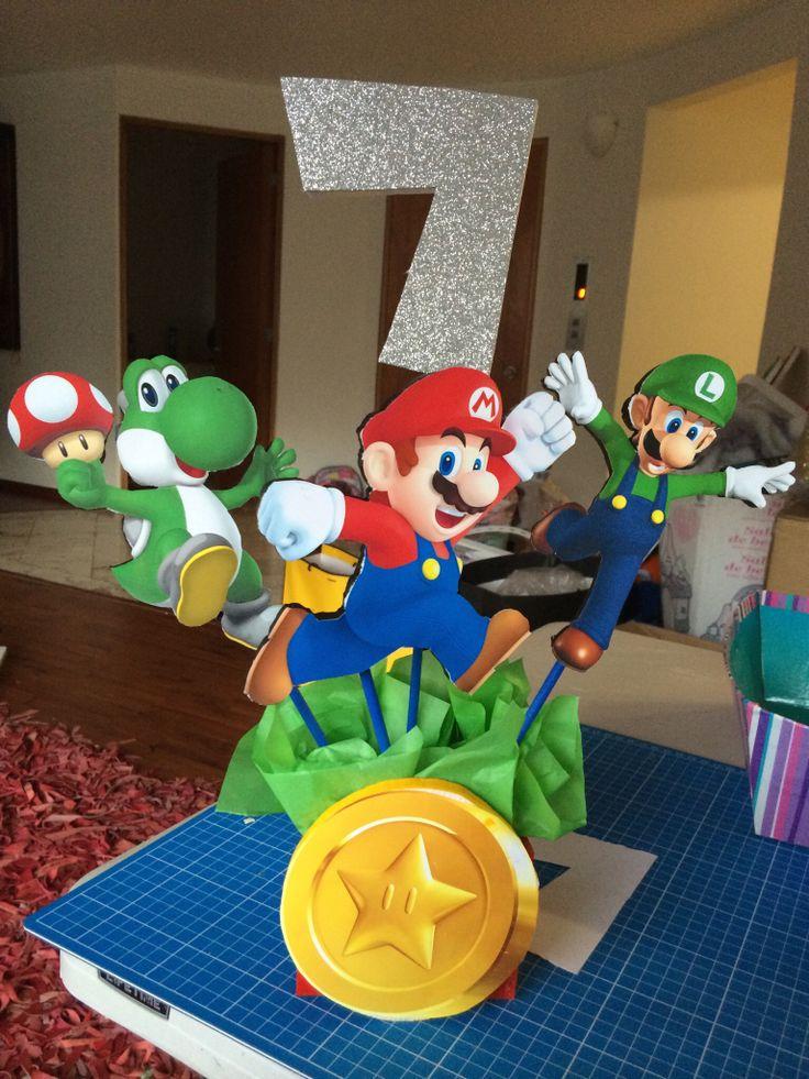Centro de mesa super mario bros fiestas infantiles for Ideas para centros de mesa