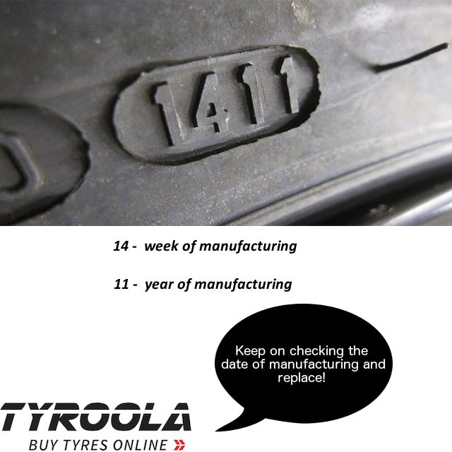 Keep checking the date of manufacturing and replace on your tyres - they can get really porous. #tyres #tyroola #tyreUp #SaveMoney #tyretips #thinktyroola #lovetyres
