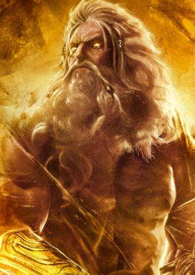 Zeus (Júpiter para os Romanos) é o pai dos deuses e dos homens. É o deus dos raios na mitologia grega. Seu equivalente romano é Júpiter, enquanto seu equivalente etrusco é Tinia; alguns autores estabeleceram seu equivalente hindu como sendo Indra. Filho de Cronos e Reia, Zeus é o mais novo de seus irmãos