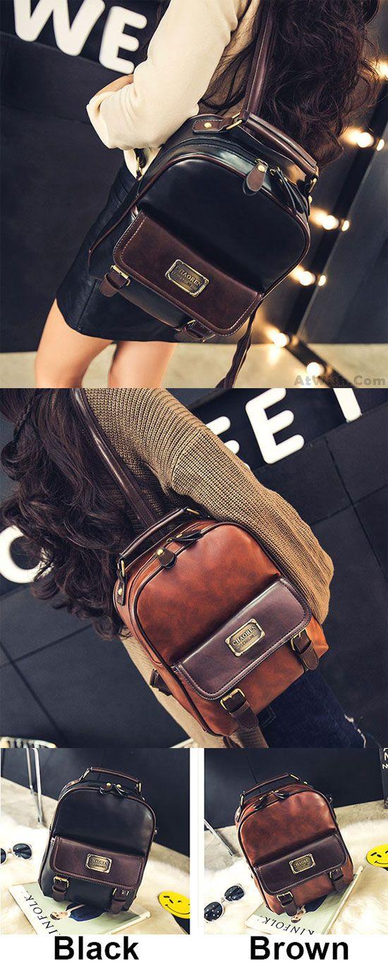 Vintage Travel PU School Backpack Retro Imitation Leather Grain Backpacks  for big sale  backpack  Bag  retro  pu  school 8d348ad8297ad
