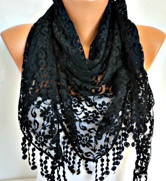 ON SALE - Black Lace Scarf - Shawl Scarf Women Scarves Cowl Scarf Bridesmaid Gift - fatwoman