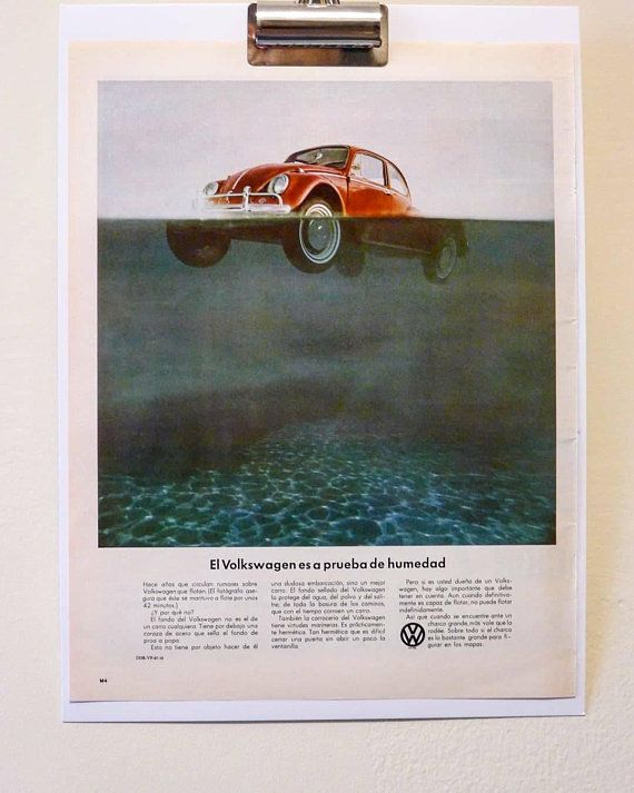 1967 Volkswagon Bug Spanish Ad - Vintage Print Advertisement Framable by AnEarnestOffering