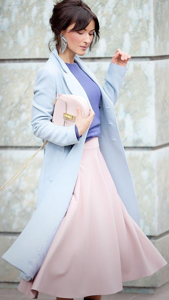 rose quartz color | flare skirt | serenity coat | chloe drew bag | chic style | feminine street style | galant girl | ellena galant