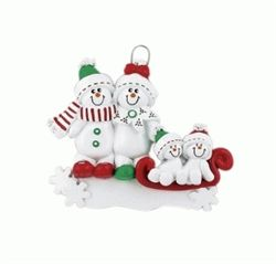 The perfect Christmas gift for a family of 4. A snowman sled with four snowmen decorated with the tradition Christmas colours of red, green and white. This is a very festive Christmas ornament that would look lovely on anybody's Christmas tree. The ornament is personalised with each persons name and the family name. To see our full range of ornaments check out WowWee.ie