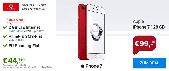 Apple iPhone 7 128GB mit Vertrag Vodafone Smart L Deluxe inklusive 2 GB LTE Datenvolumen bis 375 Mbit/s , Telefon Allnet-Flat inklusive EU-Roaming und eine SMS-Flat ins dt. Handynetz mit 13,24 € rechnerische monatliche Grundgebühr im D2-Netz von Vodafone.    #Apple #iPhone7 #iOS #Smartphone